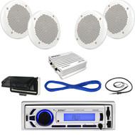 "Enrock Marine Bluetooth USB Radio,Housing, Antenna, 6.5""Speakers, Wires,400W Amp (MBNPN618)"