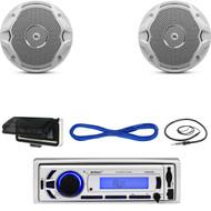 "EKMR256BT Marine Bluetooth USB Radio, Cover, JBL 6.5"" Speakers w/Wires, Antenna  (MBNPN621)"
