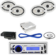 "Enrock Bluetooth USB Marine Radio,Amplifier,Housing,6x9""Speakers w/Wires,Antenna (MBNPN630)"
