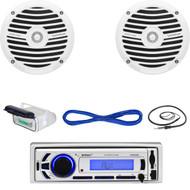 "Enrock USB Marine Radio,Housing , 6.5"" Marine Speakers w/Speaker Wire & Antenna (MBNPN634)"