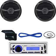 """Marine EKMR256BT Bluetooth AUX Mp3 USB Radio,Cover, 6.5""""Speakers/Wires & Antenna (MBNPN639)"""