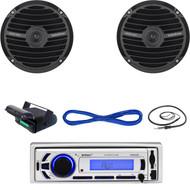 "Enrock USB Bluetooth Marine Radio, Housing, Marine 6.5"" Speakers/Wires, Antenna  (MBNPN640)"