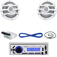 """EKMR256BT Bluetooth USB AUX Boat Radio,Antenna,Housing, 8""""Marine Speakers /Wires (MBNPN652)"""
