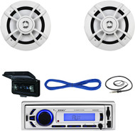 "Bluetooth Marine USB AUX Receiver, Antenna, Cover, Kenwood 6.5"" Speakers, Wires (MBNPN693)"