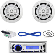 "Enrock Marine Bluetooth USB AUX Radio,Housing, 6.5"" Boat Speakers/Wires, Antenna (MBNPN694)"