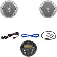"PRV19 Marine Bluetooth USB Radio, AUX Interface, 6.5"" Speakers/ Wires, Antenna (MBNPN715)"