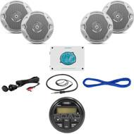 """1600W Marine Amplifier,Bluetooth USB Radio/Interface,6.5"""" Speakers/Wires,Antenna (MBNPN718)"""