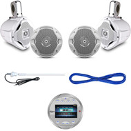 "Lanzar Marine Boat Bluetooth USB Circle Radio, 6.5"" Speaker Set & Wires, Antenna (MBNPN833)"