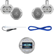 "Lanzar AQR82S Bluetooth AUX Marine Receiver, 6x9""/ 6.5"" Speakers, Wires, Antenna (MBNPN836)"