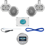 "Silver Bluetooth USB Marine Radio, 1600W Amp, 6x9""/6.5"" Speakers, Wires, Antenna (MBNPN837)"