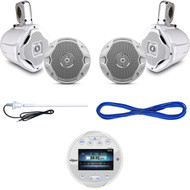 "6.5"" Marine Speaker Set w/Wires, AQR84W Marine Bluetooth Gauge Receiver, Antenna (MBNPN843)"