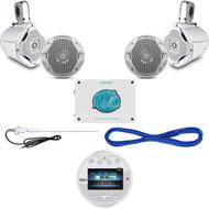 """1600W Marine Amplifier,AQR84W Bluetooth USB Radio,6.5"""" Speaker Set/Wires,Antenna (MBNPN844)"""