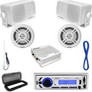 Enrock Marine Bluetooth USB Receiver, Speaker Set w/Wires, Amp, Antenna & Cover (MP16N0041)