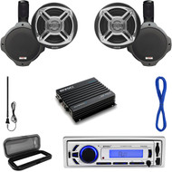 "6.5"" Marine Speaker Set/Wiring,Enrock USB Bluetooth Radio,Cover,Antenna,400W Amp (MP16N0049)"
