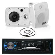 "6.5"" 800W Pyle Marine Box Speakers,Pyle Bluetooth USB Boat Radio, Marine Antenna (MPPK16013)"