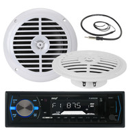 "5.25"" White Marine Pyle 100W Speakers, Pyle Black Marine AUX AM FM Radio,Antenna (MPPK16066)"