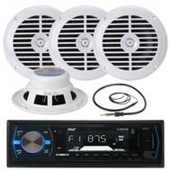 "4 Black Pyle 6.5"" Speakers, PLMRB29B USB AUX Marine AM FM Radio, Marine Antenna (MPPK16072)"