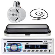 "8"" Marine Wake Board 4-Way Speaker, Pyle USB Bluetooth AUX Radio, Cover, Antenna (MPPK16441)"