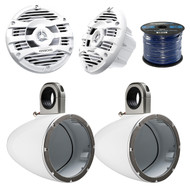 "2X Kicker Marine Tower Enclosure for 6.5-Inch Drivers, 2x 6.5"" Speakers,Wire (R-12KMTESW-1-KFC1653MRW)"