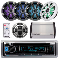 "8"" LED Speakers & Remote,Amplifier,Kenwood USB CD Bluetooth Radio&Wired Remote (R-15MP36025)"