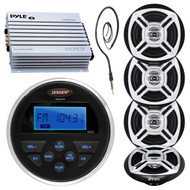 "400W Amplifier, 4 Marine Enrock 6.5"" Speakers, Jensen USB AUX Radio & Antenna (R-15MP37369)"