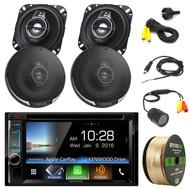 "Kenwood Bluetooth DVD CD 2Din Stereo,4"" 3Way Speaker Set,Flush Mount Rear Camera (R-DDX6703S-21095PS-PLCM22IR-EB14G50FT-CCA)"