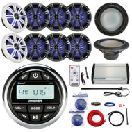 "10"" Kicker Subwoofer, Amplifier and Kit, 8"" LED Speakers, KMC2 Bluetooth Radio (R-KMC2-4X43KM84LCW-EM14G50FT-OFC-BG)"