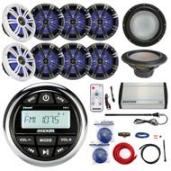 "10"" Kicker Subwoofer, Amplifier and Kit, 8"" LED Speakers, KMC2 Bluetooth Radio (R-KMC2-4X43KM84LCW-EM14G50FT-OFC-BG)"