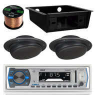 "EKMR256BT USB Bluetooth Radio, Radio Housing, 2.5"" Ceiling 40W Wall Speaker Set (RVAS090)"