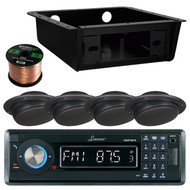 "AQMP70BT USB Bluetooth Radio, Universal Housing, 2.5"" Black Ceiling Speaker Set (RVAS108)"