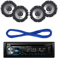 "Pioneer Bluetooth CD Aux USB Player/Remote,4 SXE-1725S 6.5""  Speakers, 14g Wire (CMAPN198)"