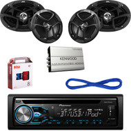 "Pioneer Bluetooth CD USB Radio,JVC 6x9""&6.5"" Car Speakers w/Wires,Amplifier& Kit (CMAPN209)"