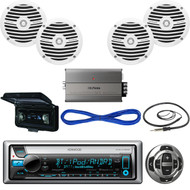 Kenwood Marine Receiver, Wired Remote, Speakers, Amplifier, Wire, Antenna, Cover (MBNPN438)