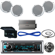 "KMRM318BT Bluetooth USB Boat Radio, Remote, Cover,6"" SpeakersWires, Amp, Antenna (MBNPN512)"
