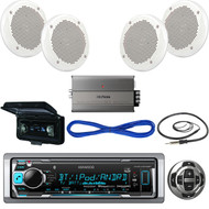 """KMRM318BT Boat Bluetooth USB Radio,Remote,Amp,Cover,Antenna,6.5""""Speakers w/Wires (MBNPN518)"""