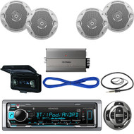 "KMRM318BT USB Bluetooth Boat Radio/Remote,Cover,6.5""Speakers w/Wires,Amp,Antenna (MBNPN524)"