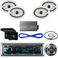 "Kenwood Bluetooth Marine USB Radio/Remote,Cover,6x9""Speakers/Wires, Amp, Antenna (MBNPN530)"