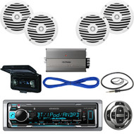 "Kenwood Boat Bluetooth CD Radio/Wired Remote,Cover,Antenna,6.5""Speaker/Wires,Amp (MBNPN536)"