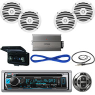 "Marine 6.5"" White Speakers/Wires,Bluetooth USB Radio/Remote, Amp, Antenna, Cover (MBNPN538)"