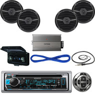 "Bluetooth USB Boat CD Radio/Remote,6.5"" Speakers w/Wires, 600W Amp,Antenna,Cover (MBNPN544)"