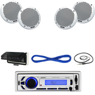 "Enrock Marine Bluetooth USB AUX Radio, Cover, 6"" 150W Speakers, Wiring, Antenna  (MBNPN611)"
