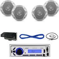 """EKMR256BT Marine Bluetooth SD USB Radio, Antenna, Cover, 6.5"""" Speakers & Wires (MBNPN623)"""