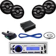 "Enrock Bluetooth USB Boat Radio,Housing, Antenna,Amplifier,8"" Speakers & Wiring  (MBNPN648)"