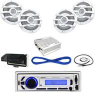 """Bluetooth USB AUX Marine Radio, Housing, Antenna, 8"""" Speaker Set/Wires, 400W Amp (MBNPN654)"""