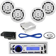"Enrock Boat USB AUX Bluetooth Radio,400W Amp,6.5"" Kenwood Speakers/Wires,Antenna (MBNPN696)"