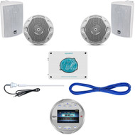 "AQR82S Silver Marine Bluetooth Radio, 4""/6.5""Speakers, Wires, 1600W Amp, Antenna (MBNPN840)"