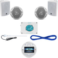 "White USB Bluetooth Marine Round Radio,4""/6.5"" Speakers,Wires, Antenna,1600W Amp (MBNPN850)"