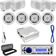 Bluetooth Marine USB AUX Radio, White Speaker Set/Wires, Antenna,400W Amp, Cover (MP16N0042)