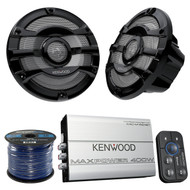"4x Kenwood KFC2053MRB 8"" Car/Marine Boat Speaker, Bluetooth Amplifier, 50Ft Wire (MPOSK1622)"