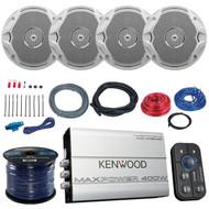 """4x JBL MS6510 6.5"""" Boat Speakers, Kenwood 400-Watt Bluetooth Amplifier, Amp Kit (MPOSK1624)"""